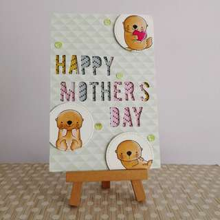 Handmade mother's Day card - die cut letter - 3D pop up effect - otters design