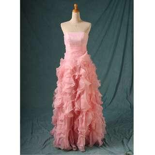 🚚 二手禮服 淺粉色裙尾抓皺 桃心領禮服 齊地款 七至八成新   R區 gowns wedding dress