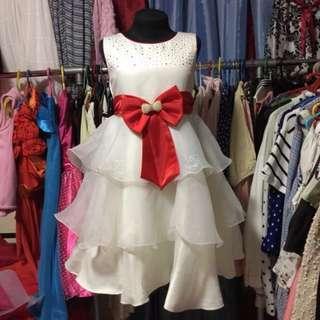 Cute White Red Ribbon Dress (free sf cavite-laguna,biñan and mm areas)