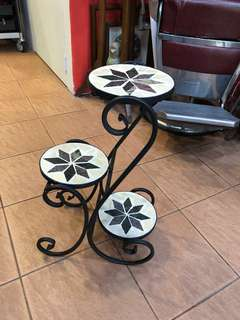 Vintage Wrought Iron marble Step-Shaped 3 Tier Plant Stand