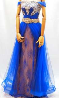 Electric Blue chantilly long dress