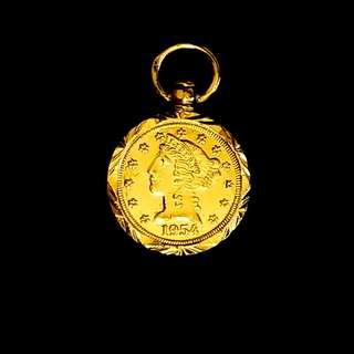 24K Gold Plated Pound Pendant (M size) for Sale (Copper Base)
