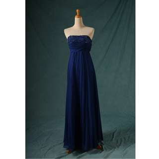 🚚 八成新 藍色帶鑽平口禮服 百折裙尾 晚禮服 gowns wedding dress R