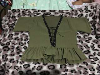Olive green criss cross peplum top