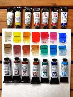 Jane Blundell's Ultimate Mixing Palette - 14 Daniel Smith Watercolour Half Pans Set