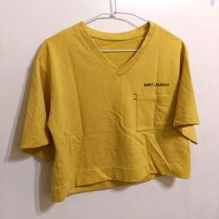 (僅下水)寬鬆短版芥黃色短T#女裝半價