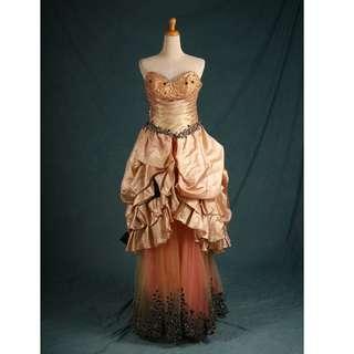 🚚 二手禮服 七至八成新 香檳橘多層次裙擺晚禮服 gowns wedding dress