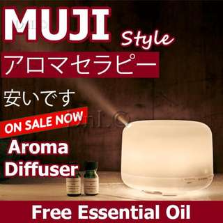 500ml 7 LED Lights Muji Style Ultrasonic Aroma Diffuser For Home Office