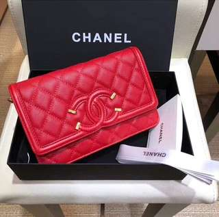Chanel Wallet On A Chain Red Filigree