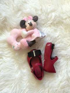 Mini mel maroon doll shoes