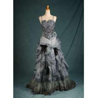 🚚 二手禮服 七成新 銀灰色鑲鑽蕾絲晚禮服 gowns wedding dress U