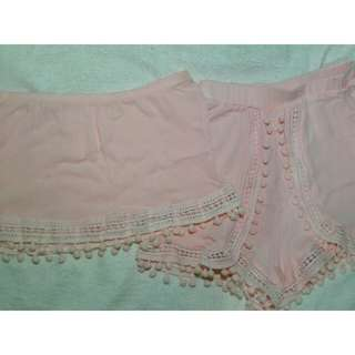 Pink Two Piece Boho Tube Top and High Waist Shorts with Pompoms