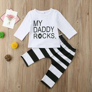 🍀Baby Girl Boy Outfits Long Sleeves Top+Striped Pants 2pcs Set🍀