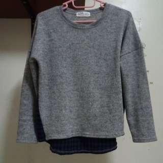 🚚 韓製毛料拼接上衣