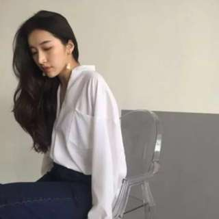 [NEW] Korean Chiffon Loose V Collar Blouse Top