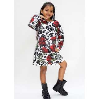 Black and red rose print brocade dress