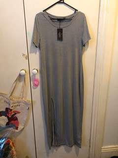 Grey Maxi Shirt Dress