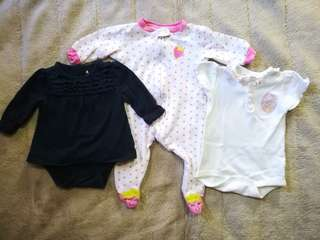 Onesies and frogsuit 0-3 mos.