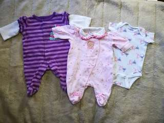 Onesies and frogsuit 0-3 mos