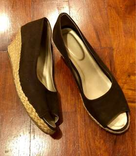 Dark Brown Slip On Abaca Wedge Open Toe Shoes (Size 9)