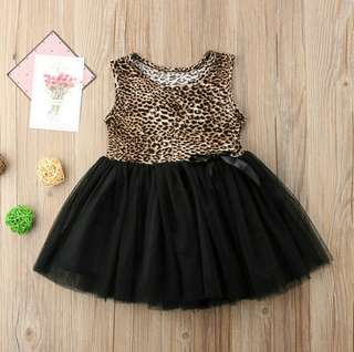 🍀Baby Girl Sleeveless Leopard Lace Mini Tutu Dress🍀