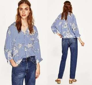🚚 OshareGirl 04 西班牙單女士條紋印花圖案襯衫式上衣
