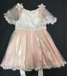 韓版女童蓬蓬 滾花邊公主裙 畢業演出服 鋼琴演奏花童 禮服 洋裝紗裙 近全新 只穿一次