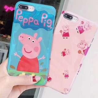 手機殼IPhone6/7/8/plus/X : Peppapig小豬藍光全包黑邊軟殼