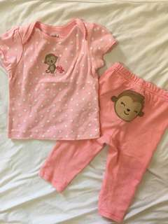 Carters Set Onesies and Leggings 3-6mos