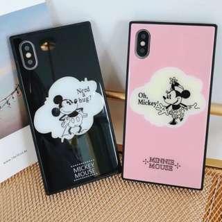 手機殼IPhone6/7/8/plus/X : 情侶款米奇米妮全包黑邊玻璃背板殼