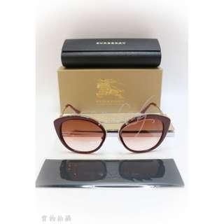 BURBERRY 棗紅色金邊格仔圖案 太陽眼鏡