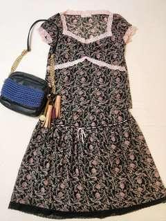 🚚 中友 專櫃 8happy 蕾絲 小碎花 整套上衣 + 裙子 洋裝