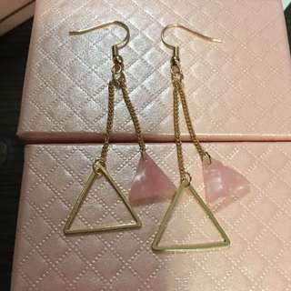 韓風金屬粉紅三角耳環