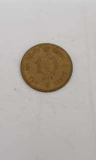 Hong Kong 10 Cents 1982 Nickel Brass Coin
