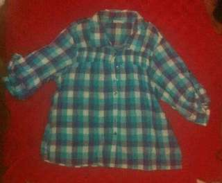 Checked 3/4 b blouse