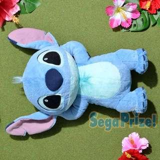 35CM Cute Japan Disney Lilo Stitch Sleep Resting Relaxing Laying On Back Fluffy Furry Soft Plush        [Toreba]
