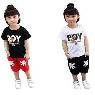 Summer Kids clothing set Mickey Short T-shirt+ shorts 2Pcs