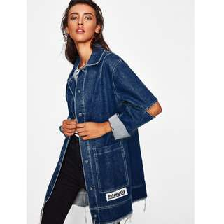 Hollow Out Sleeves Denim Jacket