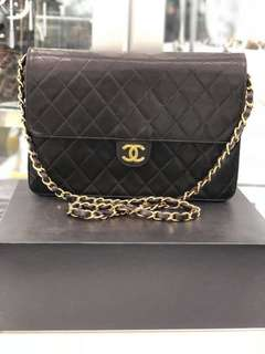 Authentic Chanel Lambskin Matellase Chain Shoulder Bag