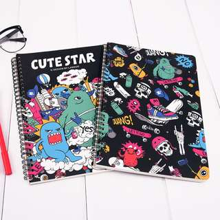 Cute Star Skateboard Alien Spiral Ruled Notebook B5
