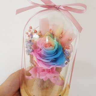 Rainbow rose bouquet in jar + LED