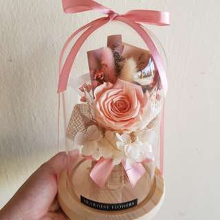 Peach pink rose bouquet in jar + LED