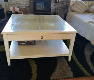 French Provincial white coffee table sliding glass top