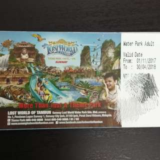 4 tickets of Lost World of Tambun Water Park, Ipoh (Adult entrance)  (VALID TILL 30/4/2018) RM150 for 4
