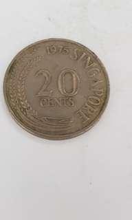 1975 Sg 20 Cents Coin