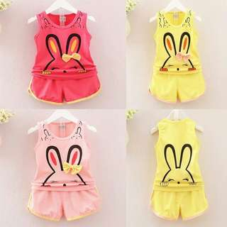 0-4Y Summer Girls Rabbit Print Clothes Set Sleeveless Tops+Shorts 2Pcs