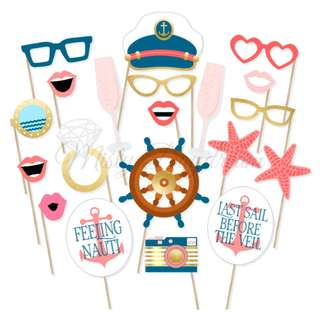 Nautical Bachelorette Photo Booth Props Set of 20