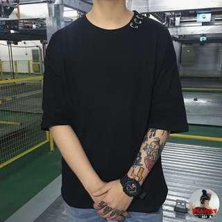 Bravery♡特價》情侶男女INS同款金屬圓環圓領T恤短袖上衣249
