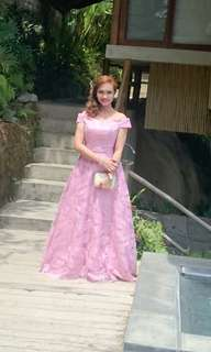 pink long gown