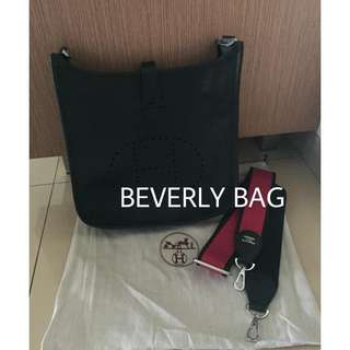 READY jual tas Hxx mes Evelyn Limited Strap LEATHER MIRROR - black